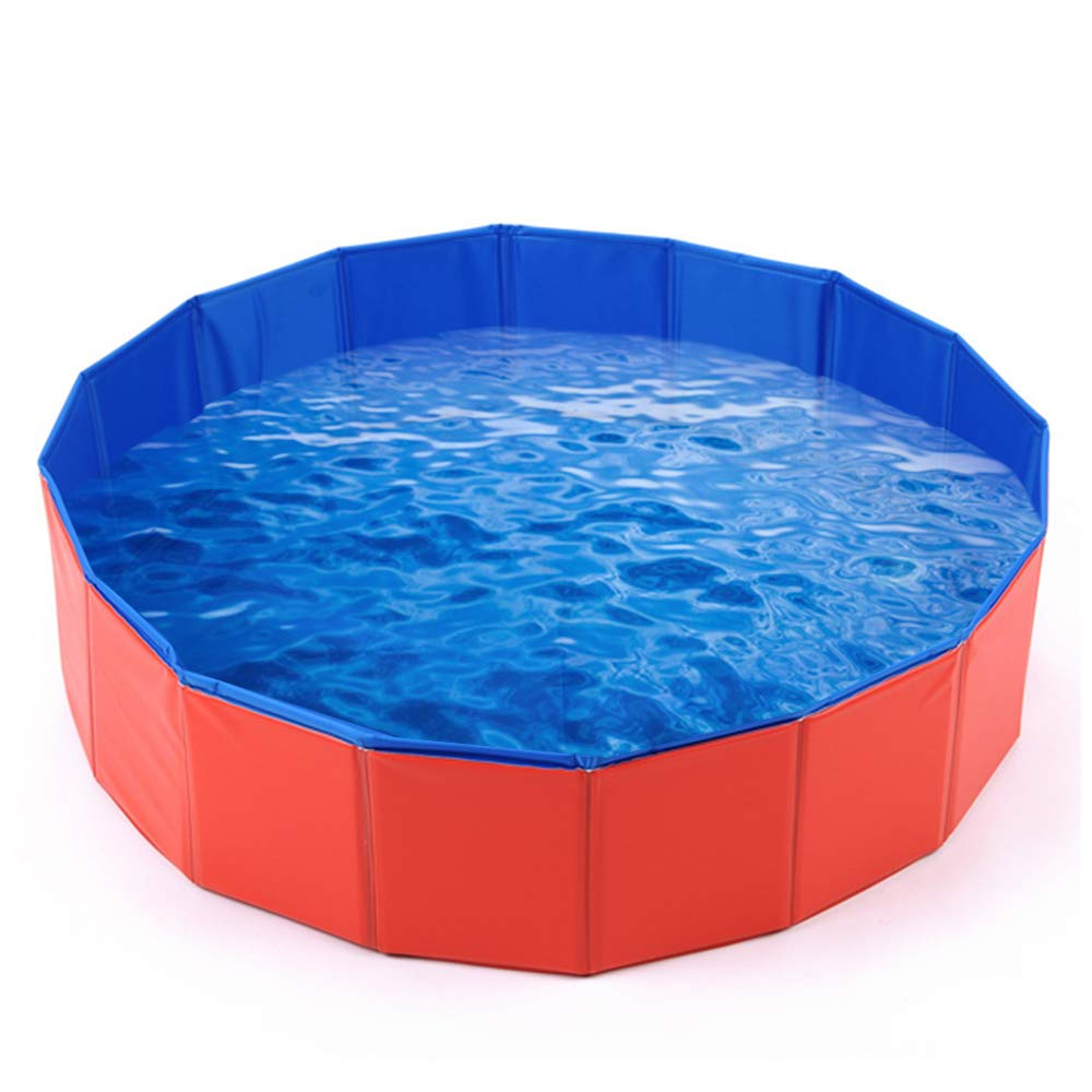 Mcgrady1xm Foldable Large Pet Dog Bath Pool, Kiddie Pool Hard Plastic Collapsible Dog Pet Swimming Pool Bathing Tub PVC Outdoor Pools for Dogs Cat Kid (12030cm)