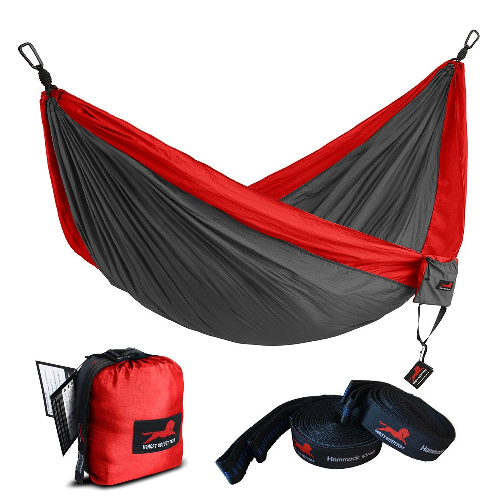 HONEST OUTFITTERS Single Camping Hammock with Basic Hammock Tree Straps,Portable Parachute Nylon Hammock for Backpacking Travel Red/Charcoal 55'' W x 108'' L