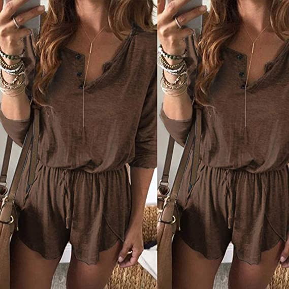 Sunhusing Womens Solid Color Button-Down V-Neck Bandage Lace-Up Long Sleeve Shorts Jumpsuit Casual Playsuit at Amazon Womens Clothing store: