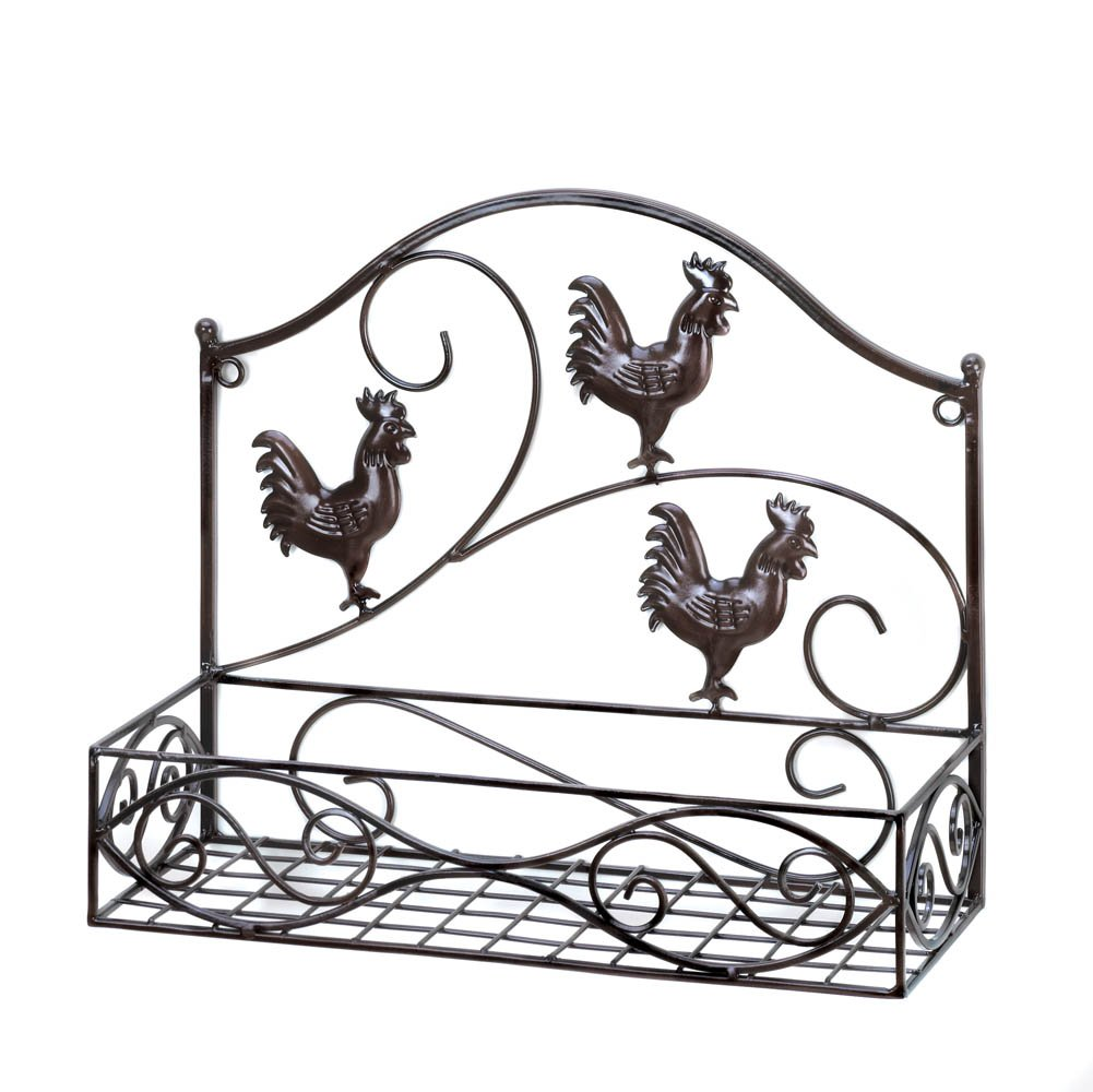 Smart Living Company 10015847 Three Roosters Wall Basket, 14.4'' x 5.62'' x 12''