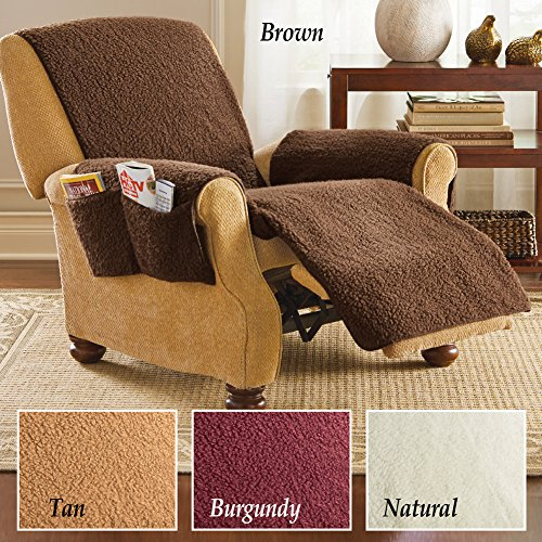 Fleece Recliner Furniture Protector Cover With Pockets Brown Buy Online In Uae