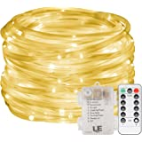 LE 33ft 120 LED Dimmable Rope Lights, Battery Powered, Waterproof, 8 Modes/Timer, Fairy Lights for Garden Patio Party Christmas Thanksgiving Outdoor Decoration (Warm White)