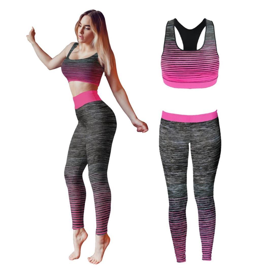 Bonjour sportivi da donna, da indossare/gilet crop top e leggings (2pezzi Set Top e leggings) Stretch-FIT yoga palestra usura set, 3/4 length Vest Top Black, One Size (UK 8-14) Bonjour®