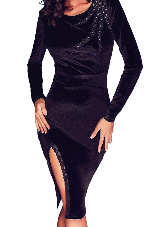 F&Q RealBlack Velvet Scalloped Slit Long Sleeve Midi Dress