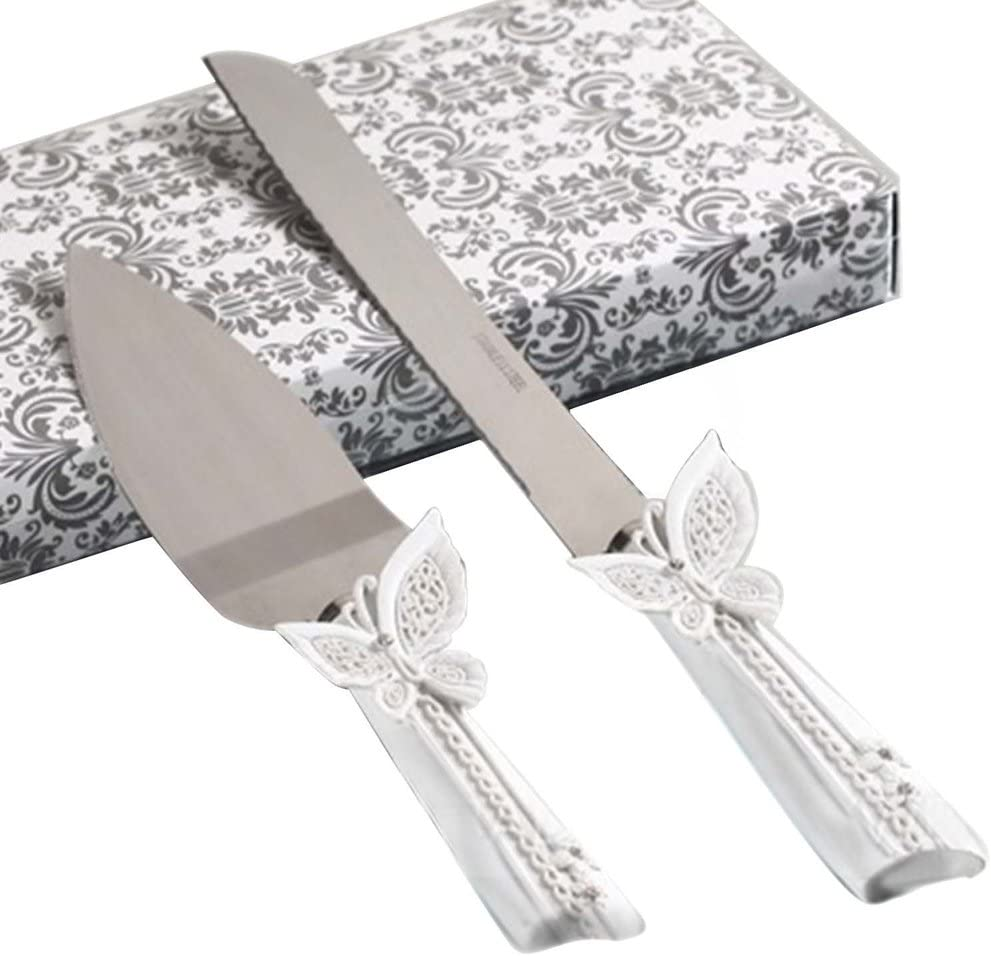 Butterfly design cake knife/server set