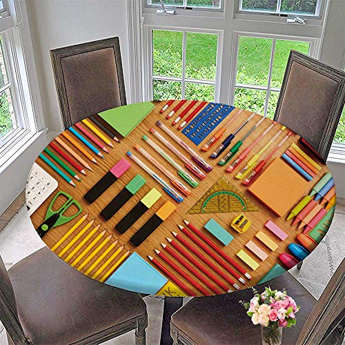 (PINAFORE HOME Modern Simple Round Tablecloth Office and School Supplies Arranged on Wooden Table Knoll Decoration Washable 63