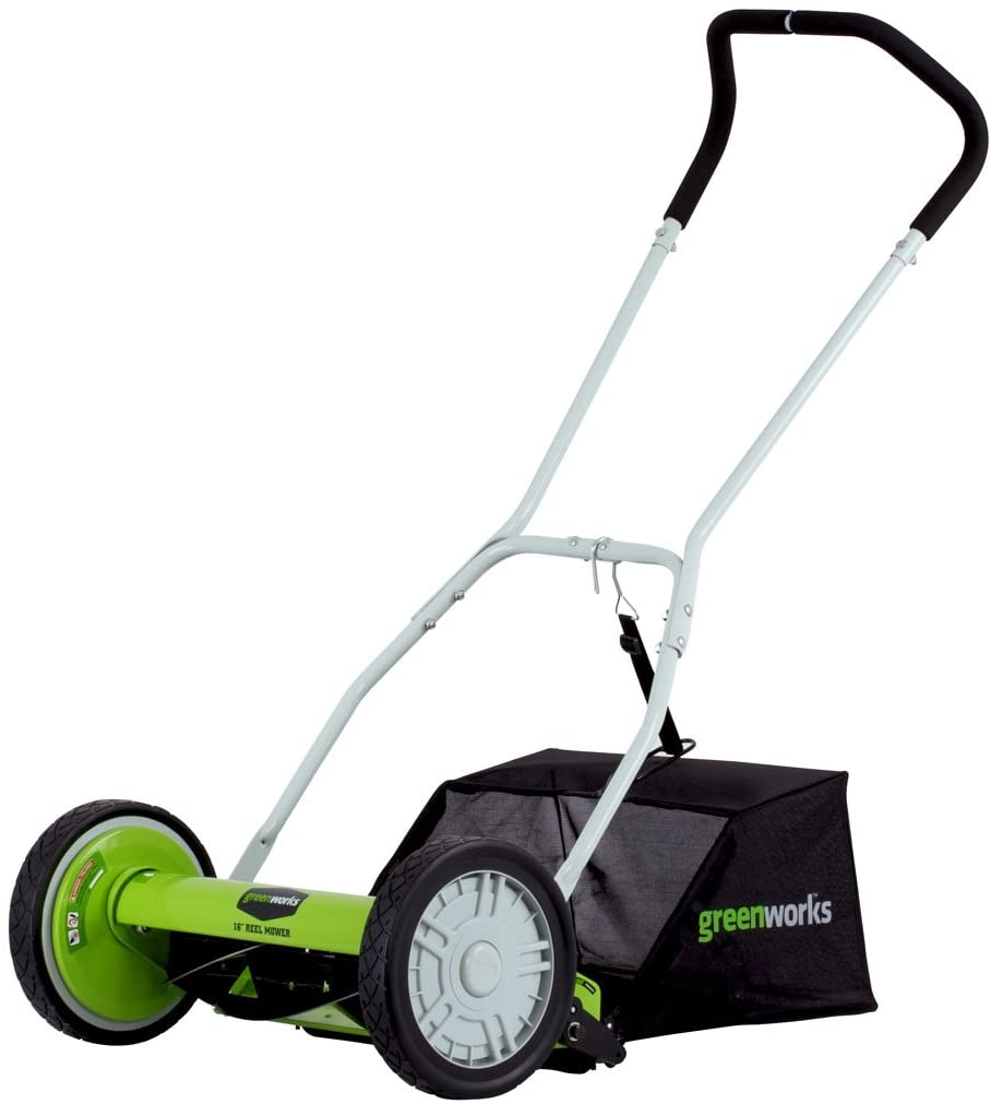 Greenworks 16-Inch Reel Lawn Mower with Grass Catcher 25052 for small lawn