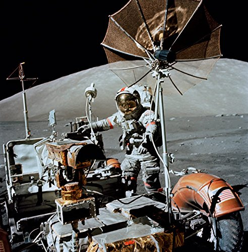 Posterazzi GLP469052LARGE Poster Print Collection Apollo 17 Astronaut Approaches The Parked Lunar Roving Vehicle Poster Print By Stock trek Images, (16 X 16), Multicolored ()
