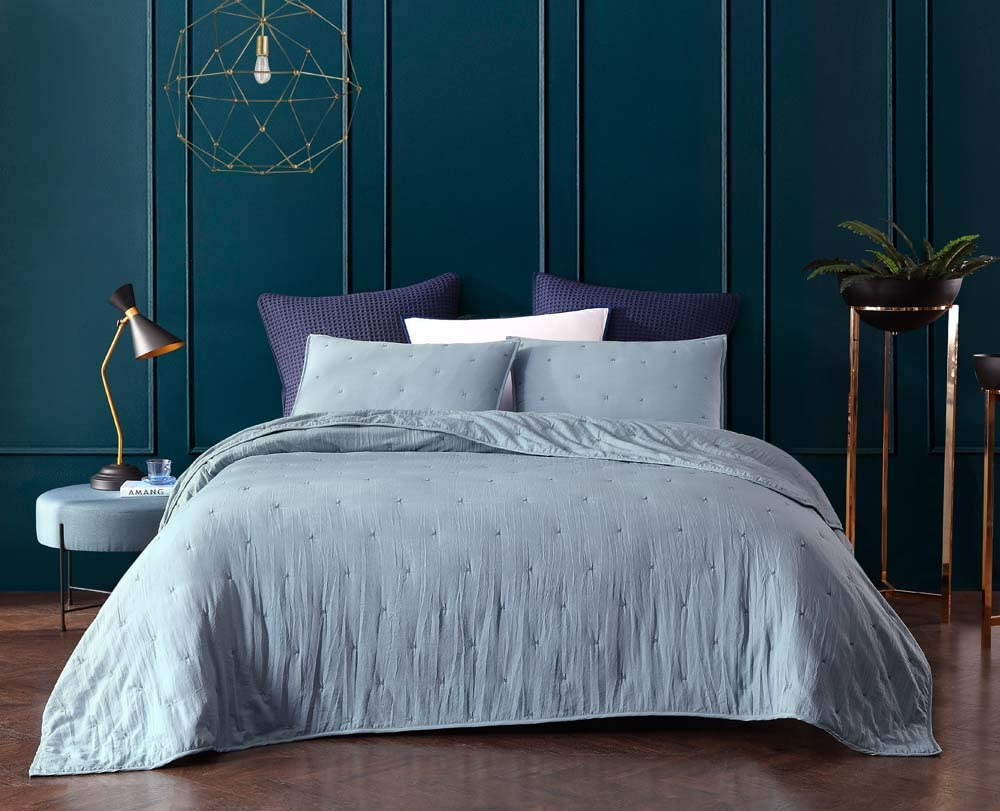 Bourina Reversible Bedspread Coverlet Set - Pre-Washed Microfiber Ultra Soft Lightweight Star Quilted 3-Piece Quilt Set King, Blue