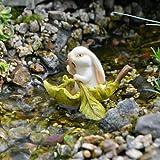 Miniature Garden Bunny in a Leaf Boat