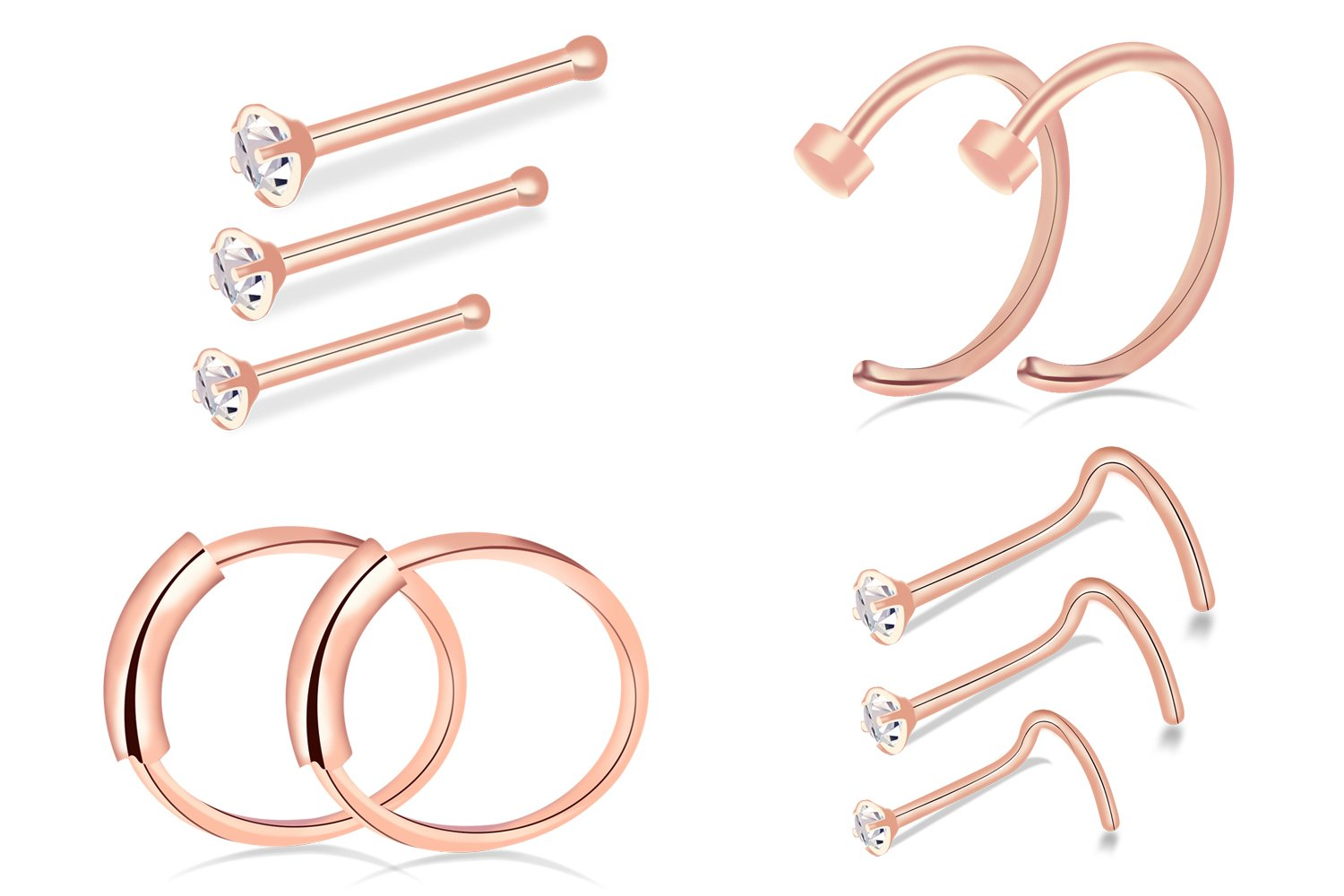 Vesungimey Nose Ring Hoop - 20G 8mm CZ Nose Rings Studs Piercings Hoop Body Jewelry 304 Stainless Steel 1.5mm 2mm 2.5mm(10pack rose gold)