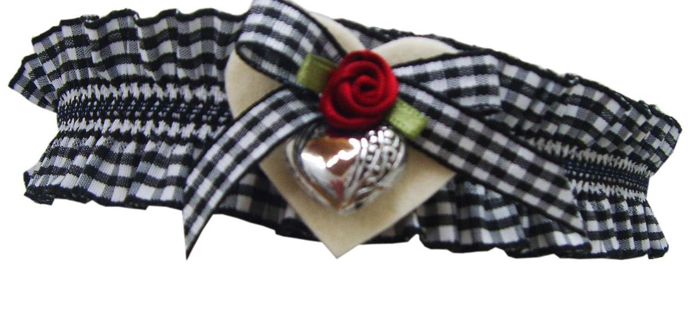 Oktoberfest Strumpfband schwarz kariert mit Filzherz und Rose