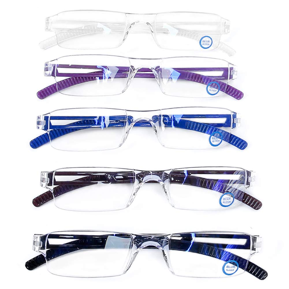 AQWANO 5 Pack Lightweight Computer Reading Glasses Blue Light Blocking and UV Protection Rimless Readers Glasses for Women Men +2.0