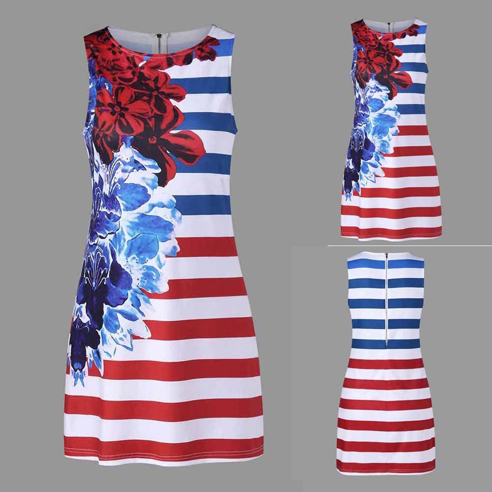 Women American Flag Vest Dress Printed Stripe Stitching O-Neck Sleeveless Maxi Mini Dress (S, Multicolor) by S&S-women (Image #7)