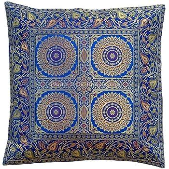 "Silk Brocade Decorative Pillow Case Christmas Golden Cushion Cover 2 Pcs Lot 16/"""