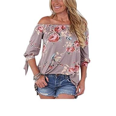 Camiseta Mujer Sexy Summer Collar Sin Tirantes Camiseta Estampada ...