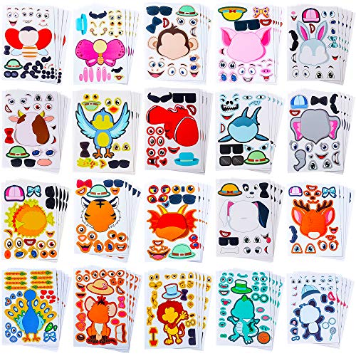 Make Your Own Stickers-100 Pack Assortment 20 Animals.Zoo Animals, Sea Creature, Dinosaur and More - for Kids, As Gift of Festival instead of Snacks. Reward, Arts, Birthdays, Party Favors, School,