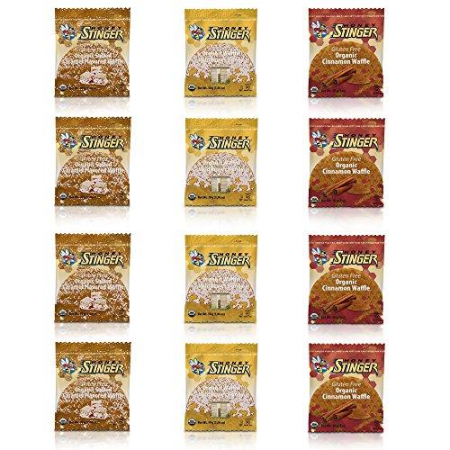 Honey Stinger GLUTEN FREE Waffle Variety Sampler Pack, 12 waffles, 4 Salted Caramel, 4 Wildflower (New Flavor), 4 Cinnamon by Honey Stinger