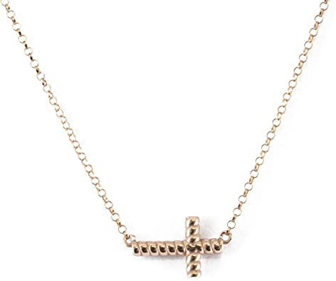collier croix horizontale or