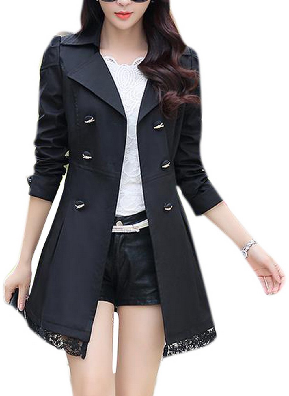 Lingswallow Women's Elegant Double Breasted Lace Hem Trench Coat Jacket Black