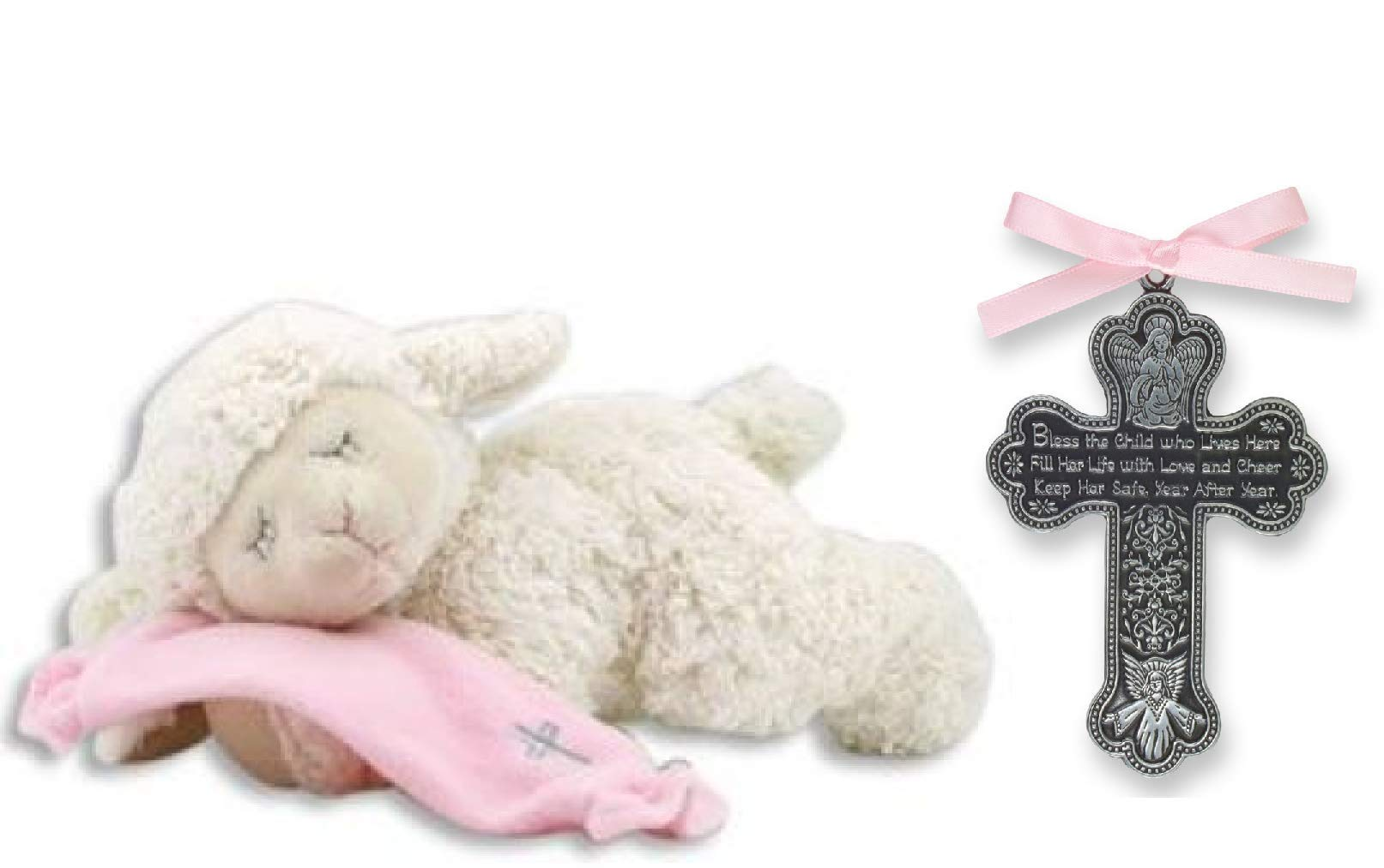 Adorable Plush Praying Lamb with Pink Blanket - Recites''Now I Lay Me Down to Sleep'' Prayer & Bless The Child - Guardian Angle Crib Cross with Pink Satin Ribbon for Girl