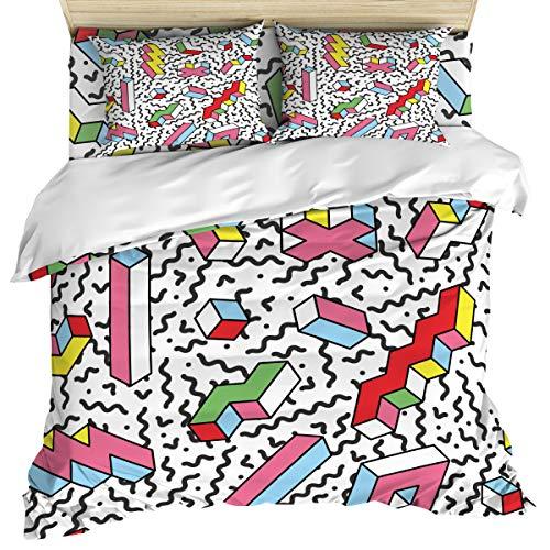 ZOE GARDEN Bedding Set Includes 1 Bed Sheet 1 Duvet Cover 2 Pillow Cases Queen Size 3D Tetris Pattern 4 Pcs Duvet Cover Set Quilt Cover Suitable for Adults