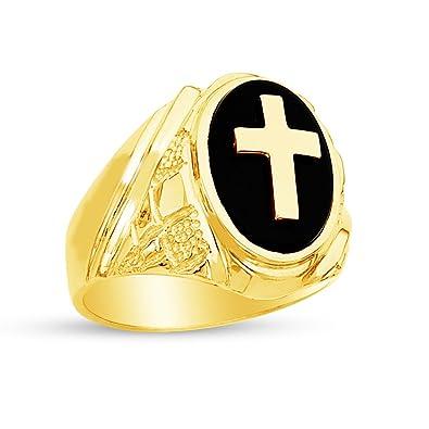 1c3c809989b9d Sonia Jewels 14k Yellow Gold Black Onyx Men's Cross Ring Amazon.com