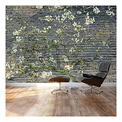 Almond Blossom by Vincent Van Gogh Floral Painting on a Smokey Brick Textured Background Wall Mural, With a Professional Touch, Pretty Visual