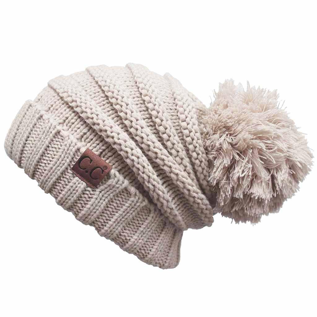 413181f3 ScarvesMe C.C. Warm Chunky Soft Oversized Cable Knit Slouchy Beanie with Pom  Pom