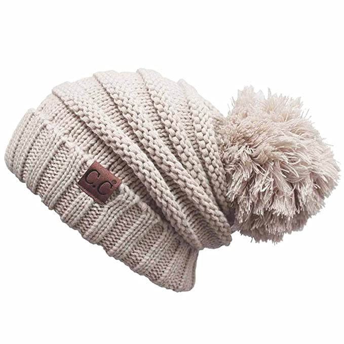 8f741f5eb1fa18 ScarvesMe Exclusive CC Oversize Cable Knit Hat with Pom Pom (Beige ...