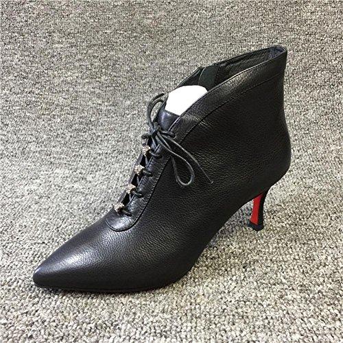 Ayuda Bomba Dedo del black WYWQ Mujeres de alta Chelsea Botas Talón fino puntiagudo estilete cortas pie Botas medio TnTvxOz