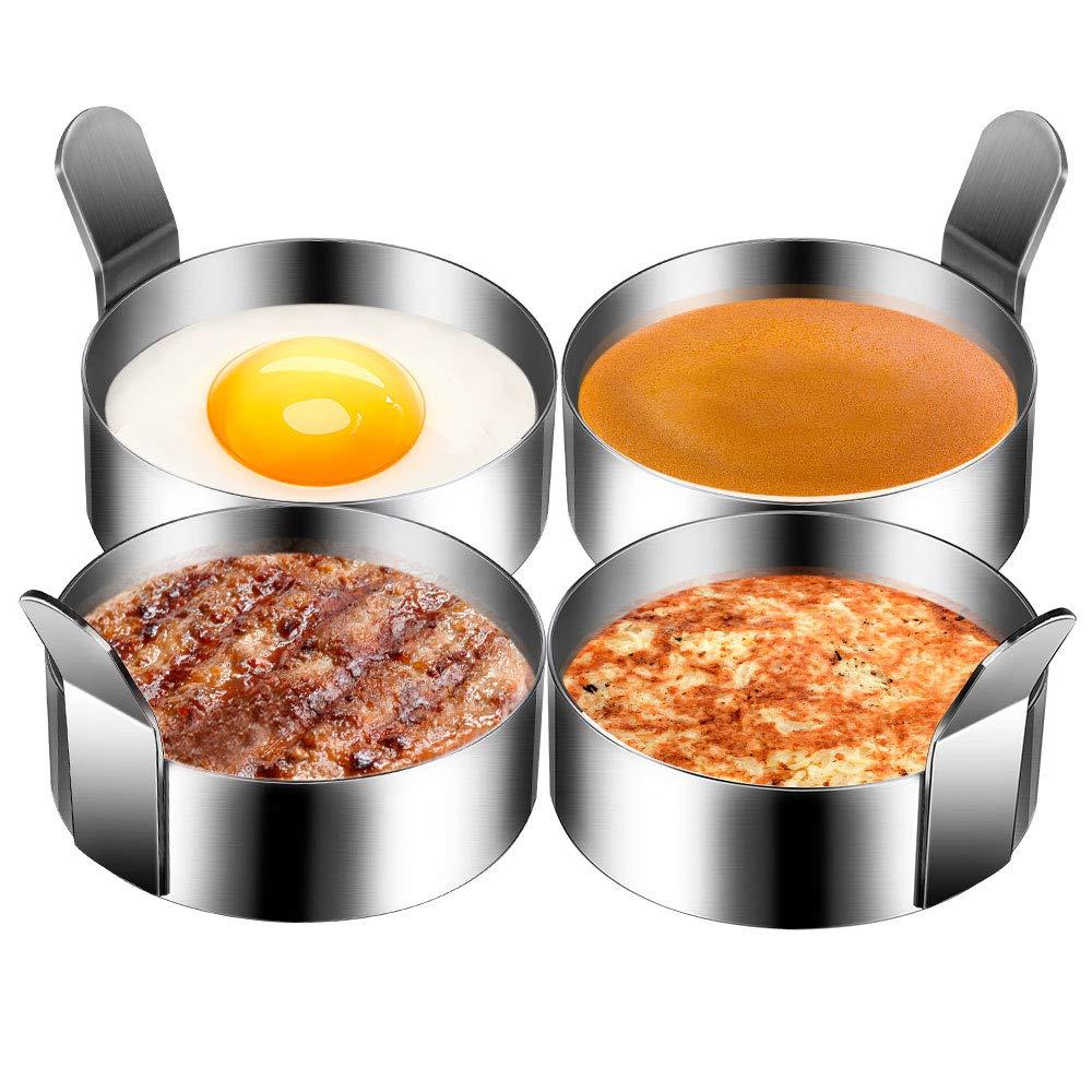 Winkeyes 4pcs 3.5Inch Stainless Steel Round Pancake Rings Egg Rings, Non Stick Fried Egg Mold, Pancakes Maker Molds, Breakfast Egg Sandwich Cooker Maker