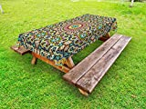 Lunarable Moroccan Outdoor Tablecloth, Aged Old Arabic Design Arabian Cultural Engraving Art History Tourist Attraction, Decorative Washable Picnic Table Cloth, 58 X 120 Inches, Multicolor