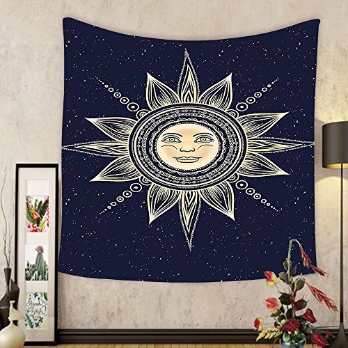 Gzhihine Custom tapestry Psychedelic Tapestry Vintage Occult Sun with Face Boho Chic Esoteric Solar Spiritual Display for Bedroom Living Room Dorm Yellow Dark Blue by Gzhihine