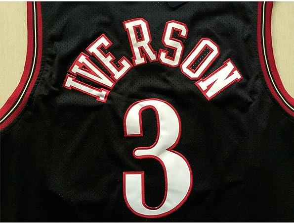 Uniforme da Fan Unisex Vintage Traspirante in Tessuto Fresco,A,S 170CM//50~65Kg XH-Sport Maglia da Uomo 76ers 3# Allen Iverson Classic Abbigliamento da Basket
