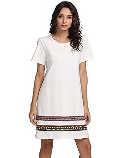 9120a439f5aa Romwe Women's Comfy Swing Tunic Short Sleeve Boho Embroidered Hem Loose  Casual T-Shirt Dress
