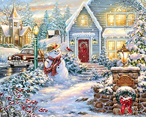 Springbok Puzzles - Silent Night Lane - 1000 Piece Jigsaw Puzzle - Large 30 Inches by 24 Inches Puzzle - Made in USA - Unique Cut Interlocking Pieces