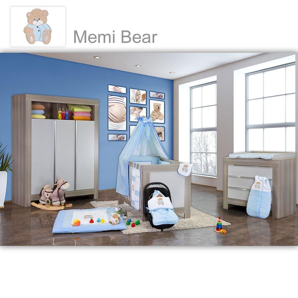 Babyzimmer Felix in akaziengrau 21 tlg. mit 3 türigem Kl. + Memi in Blau