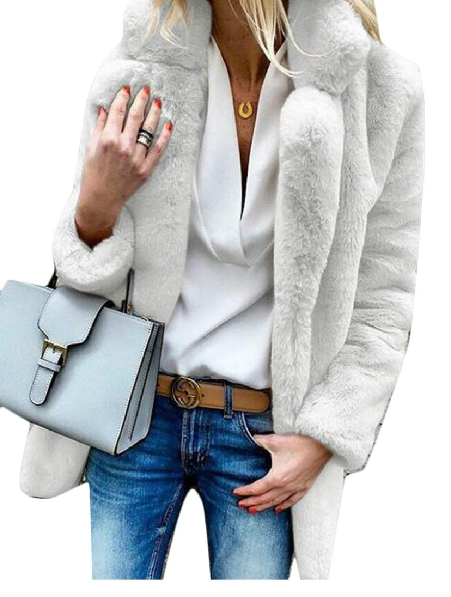 CBTLVSN Womens Winter Fluffy Faux Fur Long Sleeve Warm Cardigan Outwear Jacket White L