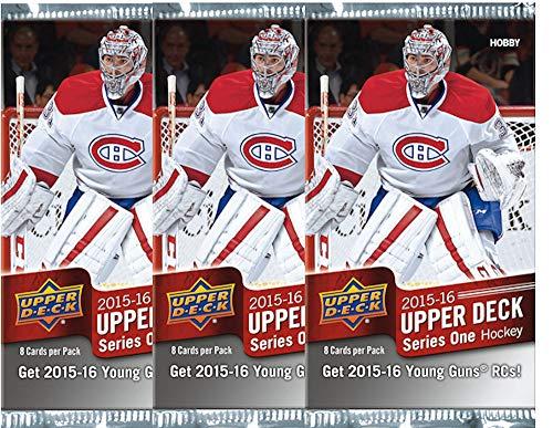(3 PACKS: 2015/16 Upper Deck Series 1 NHL Hockey HOBBY pack)