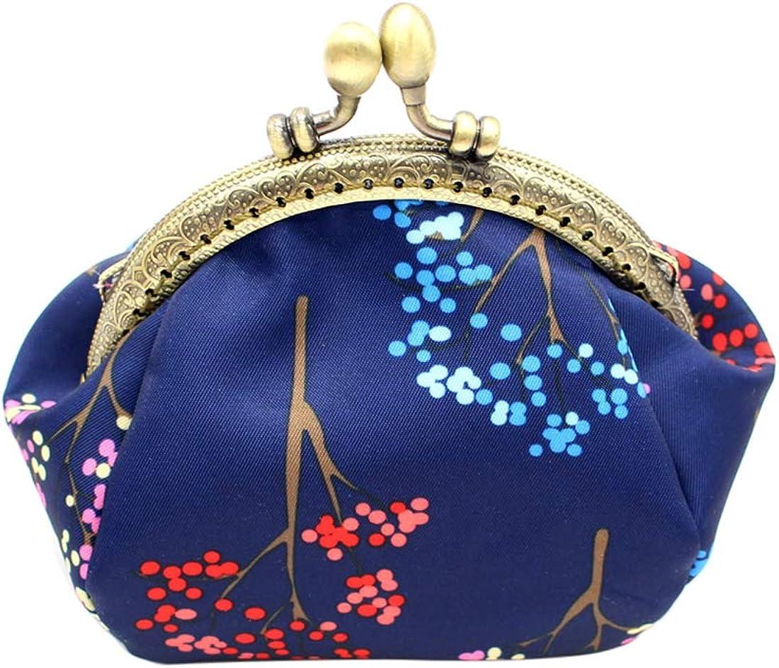 iSuperb Vintage Flower Tree Coin Purse Wallet Clutch Handbag Kiss Lock Card Cash Holder Bag