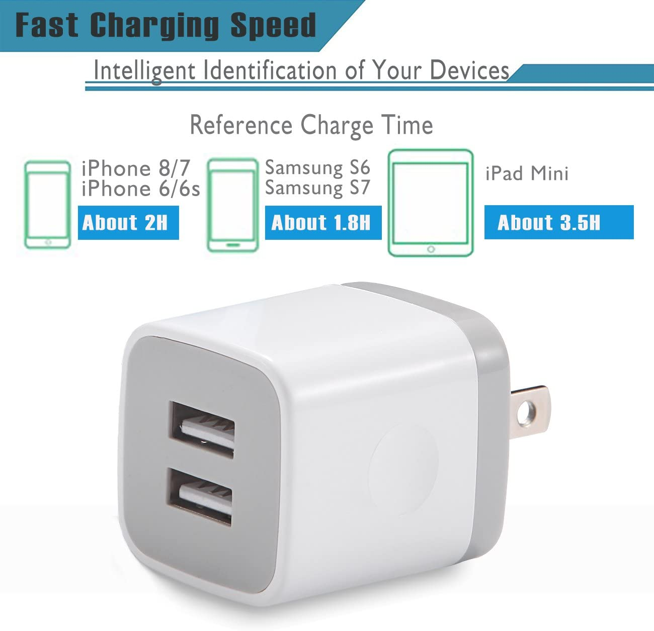 Andriod More Samsung Galaxy S8 S7 S6 Edge Moto LG iPad USB Plug 2-Pack 2.1A Dual Port Power Adapter Charging Block Compatible with iPhone Xs Max XR X 8 7 6S 6 Plus 5S LEEKOTECH USB Wall Charger