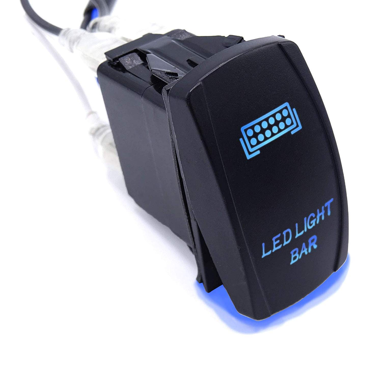 WeiSen 3PCS Rocker Switch LED LIGHT BAR and REAR LIGHTS and SASQUATCH LIGHTS Toggle Switch Universal Blue 5Pin ON-OFF Fit ATV UTV Polaris RZR Can-am HONDA YAMAHA Can-AM Maverick JEEP SUV