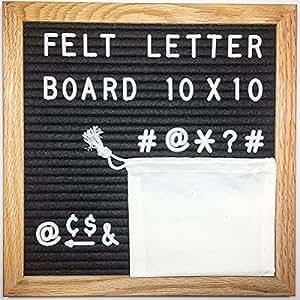 Letter Board - Felt Letter Board Black Felt 10 x 10 inch Oak Frame - Changeable Letter Board w/ 290 White Letters - Letter Board