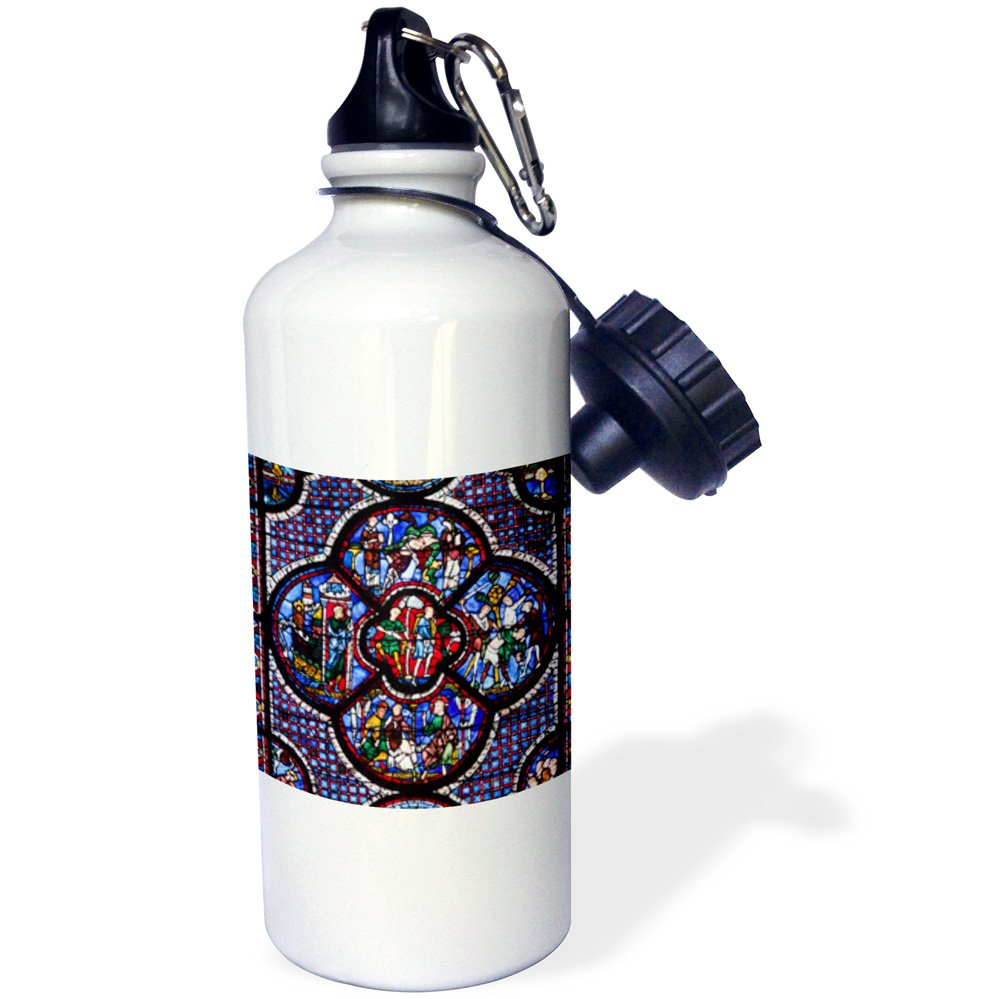 3dRose wb_189341_1 France, Centre, Chartres, Chartres Cathedral, stained glass window Sports Water Bottle, Multicolored, 21 oz