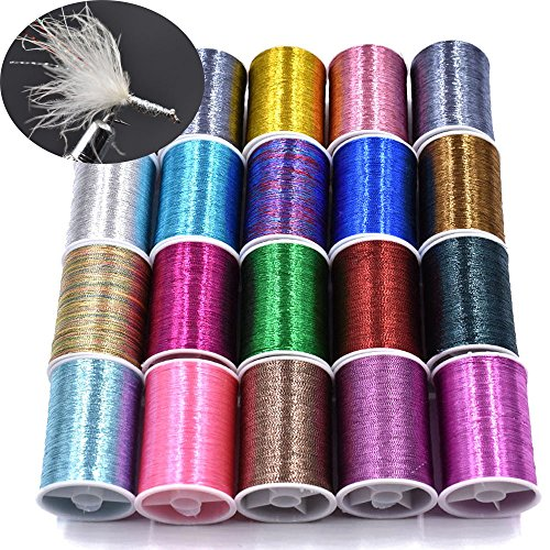 - 20 Spools Assorted Colors Flash Tinsel Thread Fly Tying Materials (20 Spools Mixes Colors)