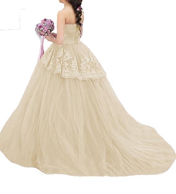 O.D.W Damen Vintage Rustikale Brautkleider mit Appliques Spitze ...