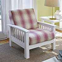 Handy Living Omaha Pink Plaid Mission Style Arm Chair with Exposed Wood Frame