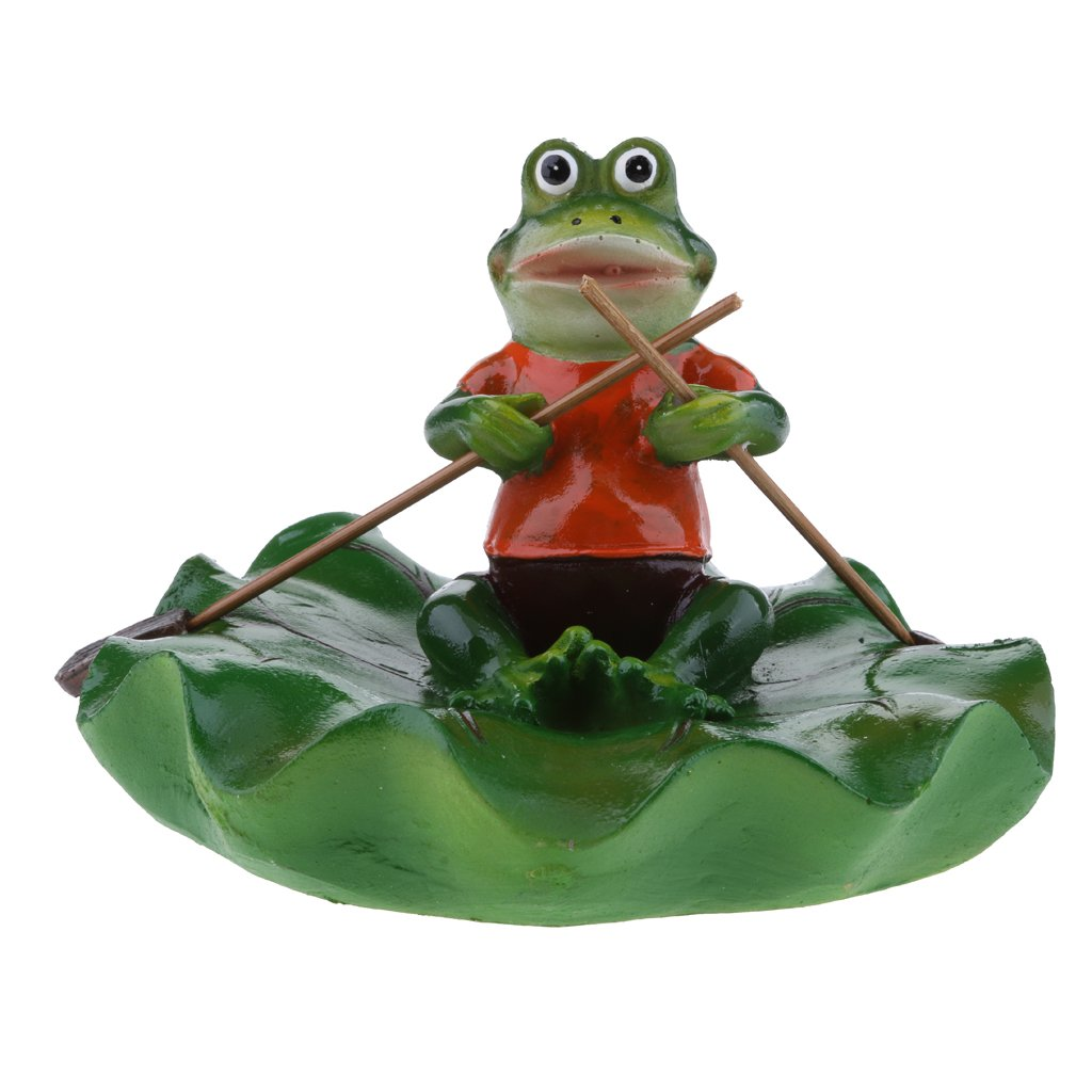 Fityle 6 Style Pond Lifelike Water Floating Lotus Leaf Ornament Sculpture Frog Bathtub Toys Resin Artificial Animals Home Decor - Rowing, as described