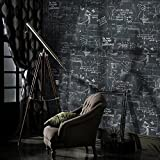 Buggy Blackboard friendly plain paper wallpaper and retro alphabet wall-bars cafes wallpaper